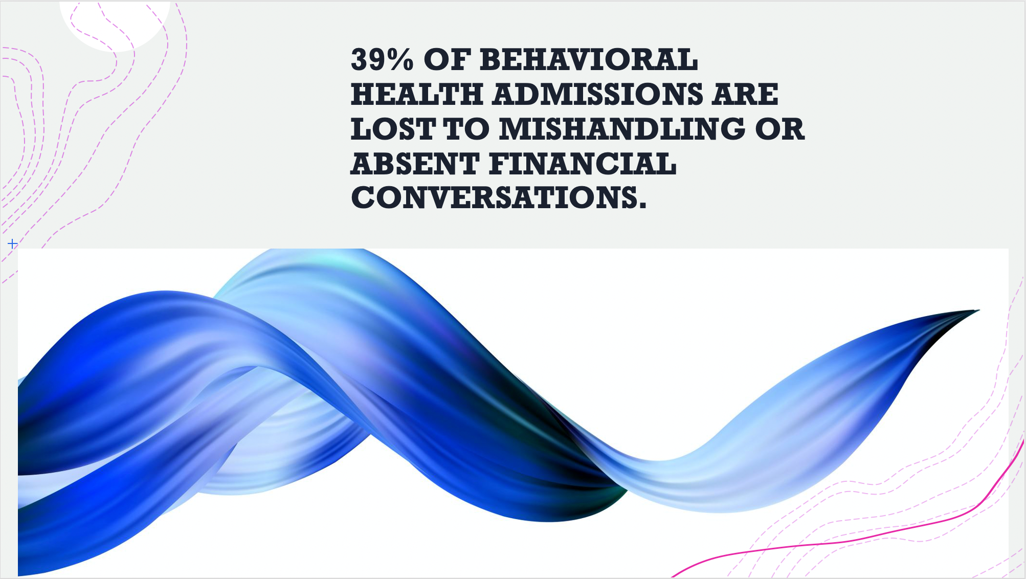 39% of behavioral health admissions are lost to mishandling or absent financial conversations.